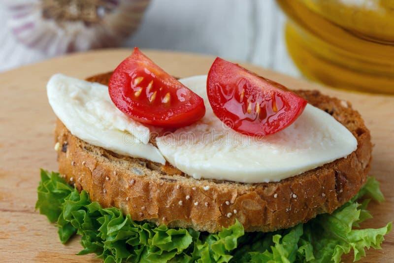Bruschette avec du mozzarella et des tomates-cerises photo stock