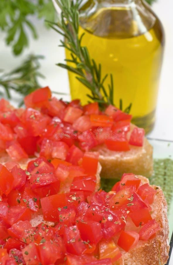 Bruschette com tomate foto de stock