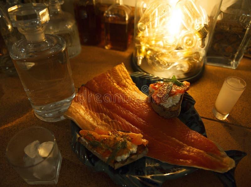 Bruschette del pesce fotografia stock libera da diritti