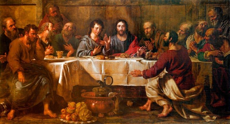 BRUSELAS - 21 DE JUNIO: Pintura de la última cena de Cristo en San Nicolás imagen de archivo libre de regalías