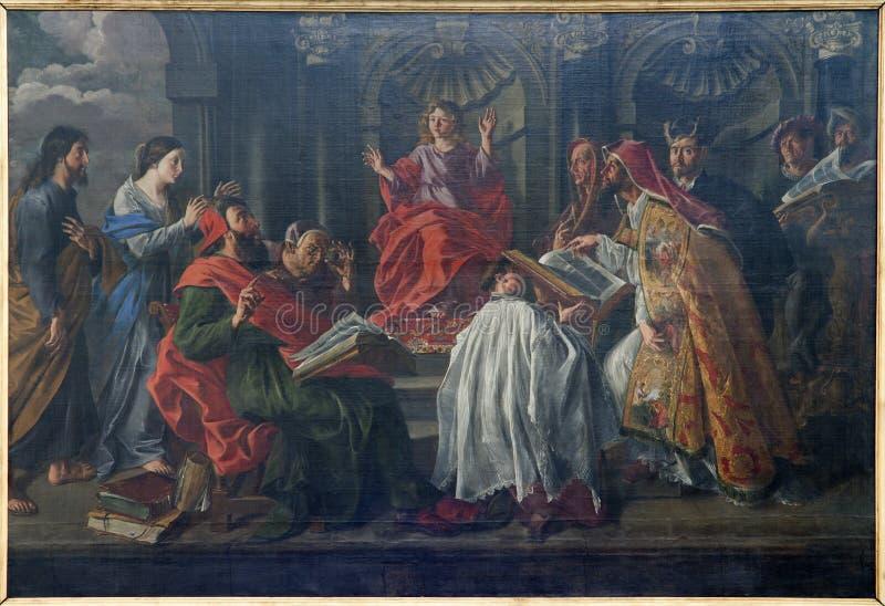 Bruselas - Jesús en la enseñanza de la edad 12 en el templo imagenes de archivo