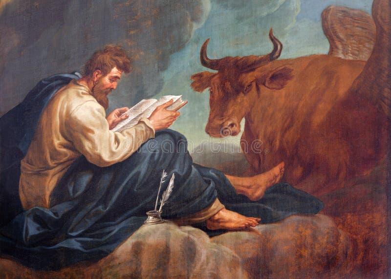 Bruselas - St Matthew el evangelista en San Juan Bautista la iglesia imágenes de archivo libres de regalías