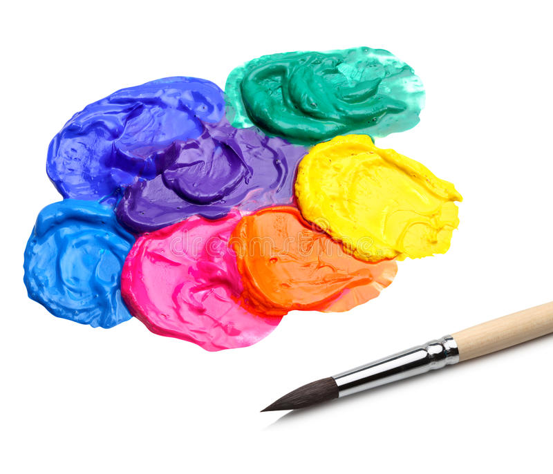 Brush and abstract acrylic paint royalty free stock photos