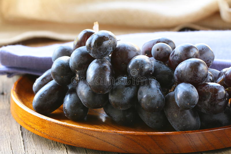 Brush of black grapes stock photos