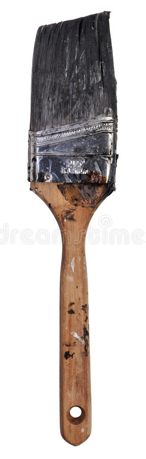 Brush with black ink. On white background. PNG available stock photo