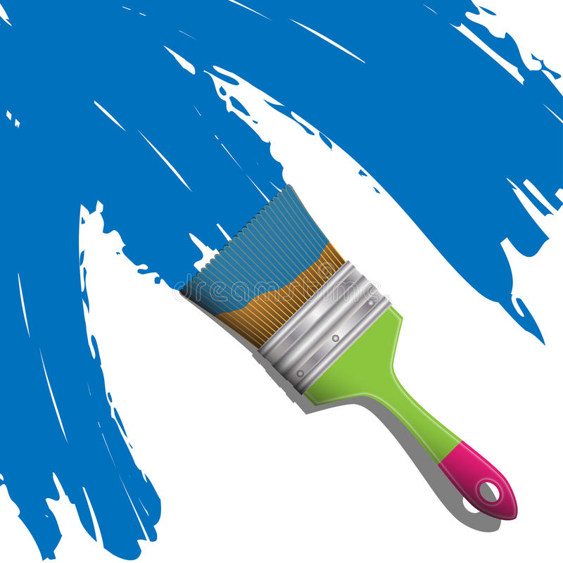 Brush with blue paint. Illustration of brushes for painting with blue paint stock illustration