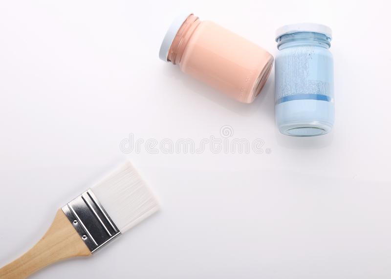 Brush and bottle glass of color for painting. Art royalty free stock photo