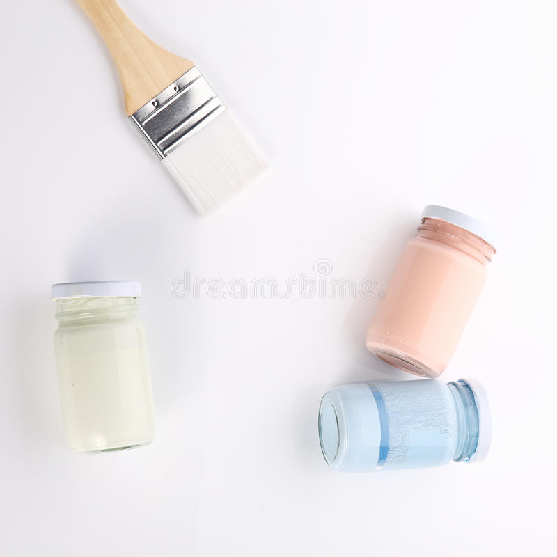 Brush and bottle glass of color for painting. Art royalty free stock photography