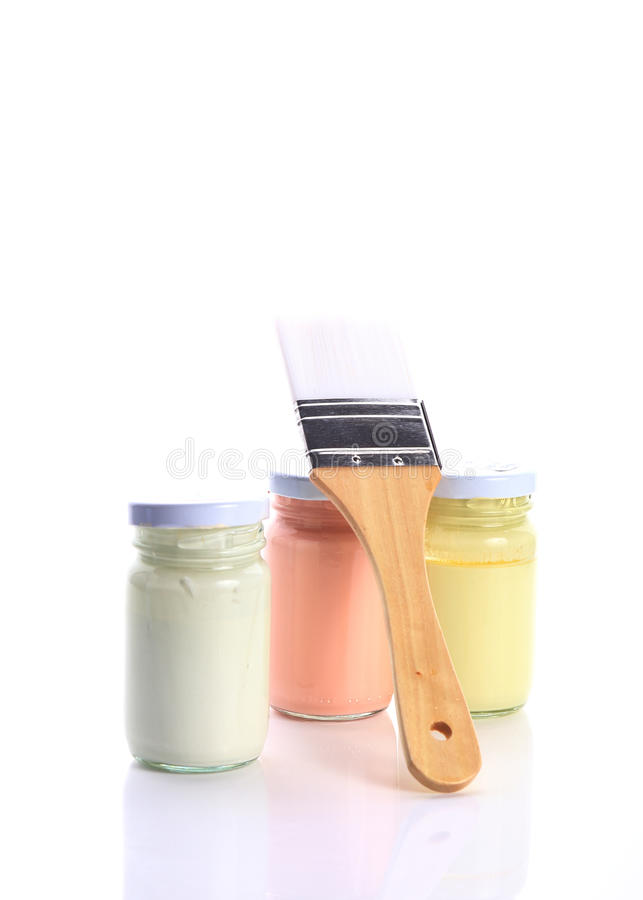 Brush and bottle glass of color for painting. Art stock photography