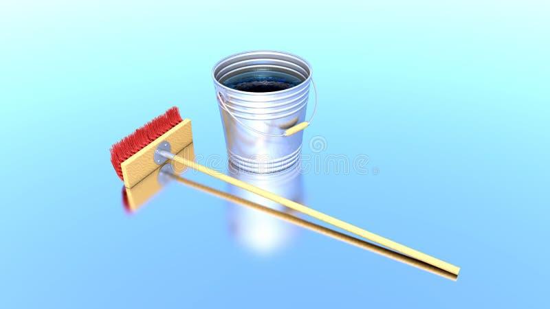 Download Brush and bucket stock illustration. Illustration of shine - 24265955