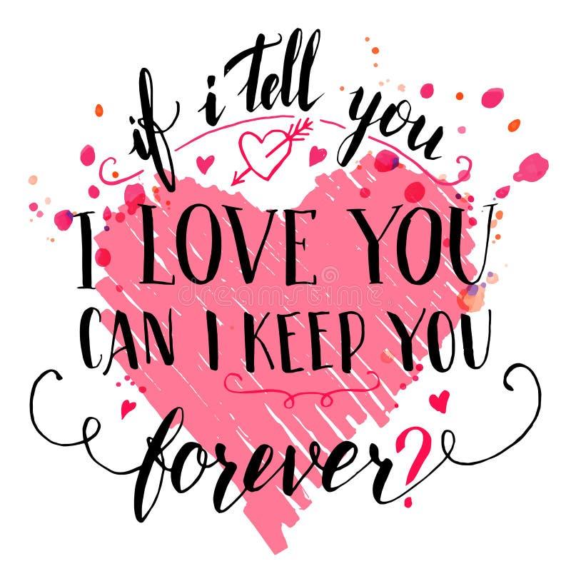 Brush calligraphic love quote card vector illustration