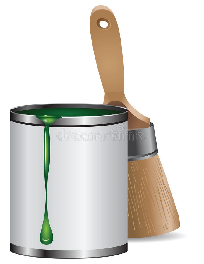 Brush with can paint. Brush with a can of green paint. Vector drawing without a trace vector illustration