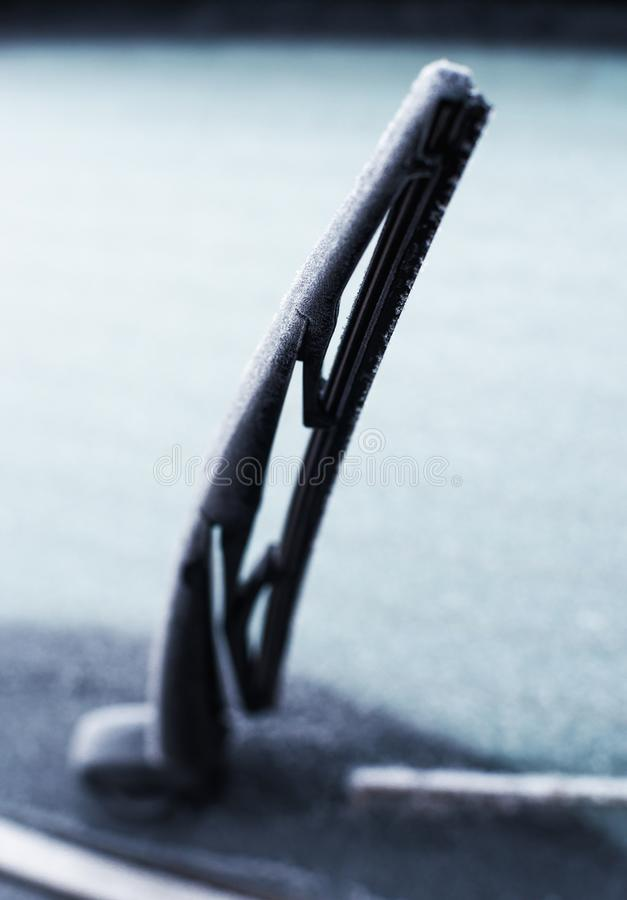 Car wiper blade with shallow depth of field stock photography