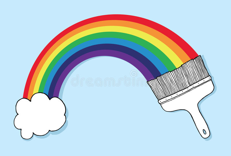 Download Brush And Cloud Forming A Rainbow Stock Illustration - Image: 33585492