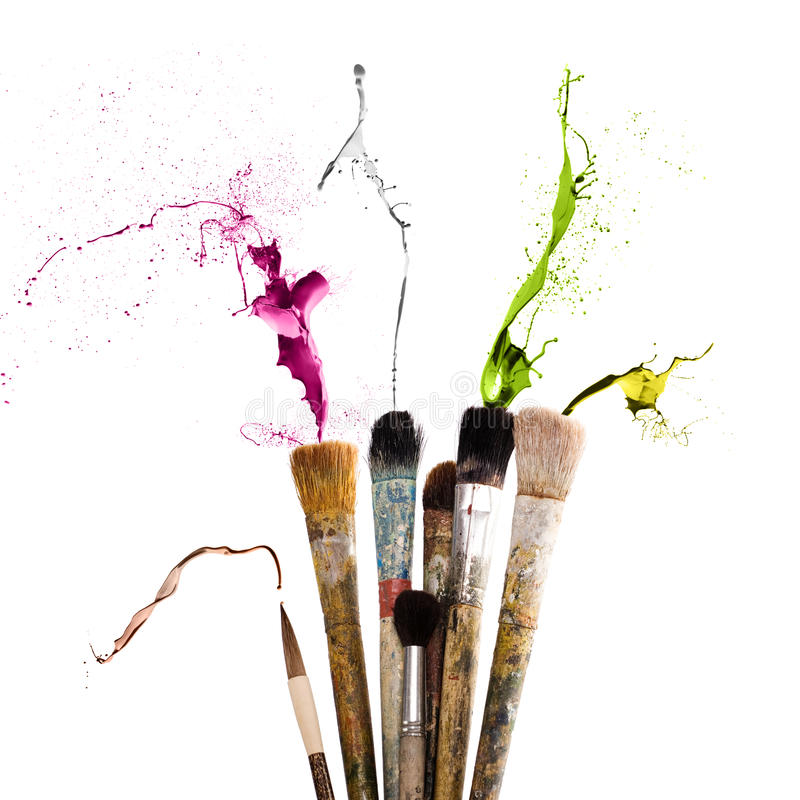 Brush and colored paint. Brush full of colored paint royalty free stock photography