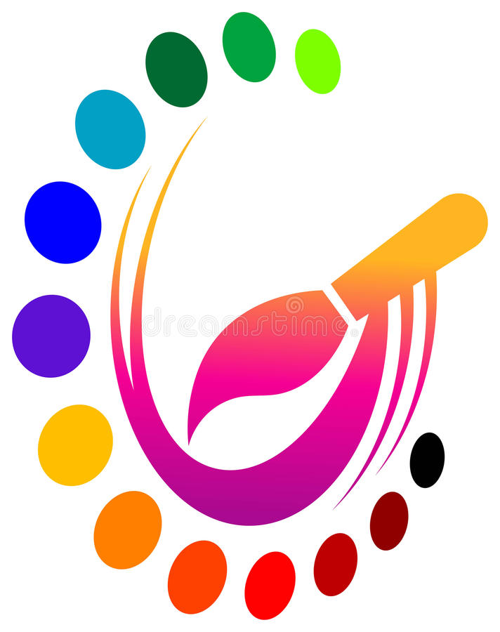Brush with colours. Isolated colourful clip art royalty free illustration