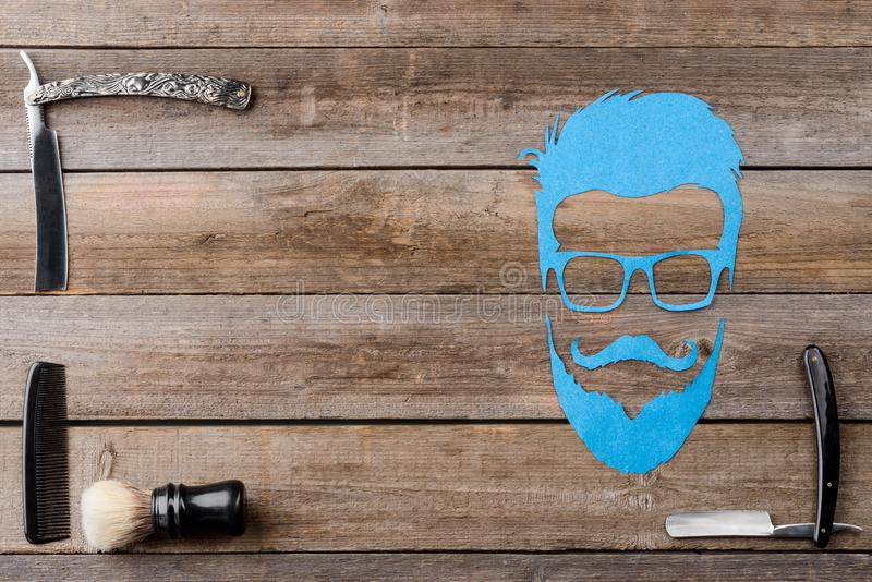 Brush and comb for barber stock photography
