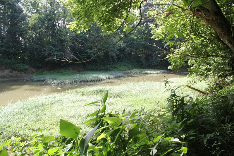 Brush Creek at Serpent Mound. Of Ohio, United States. This Mound was built by the Fort Ancient culture around 1070 CE. Serpent Mound is the largest serpent royalty free stock photos