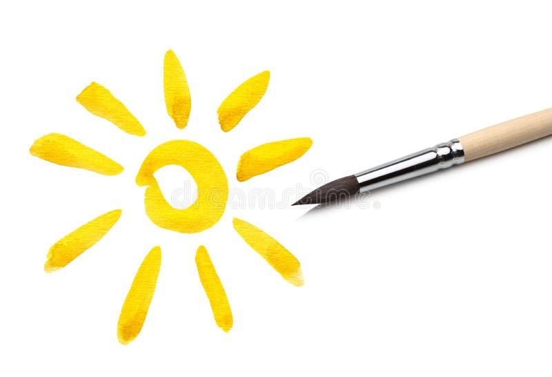 Brush drawing sun stock photo