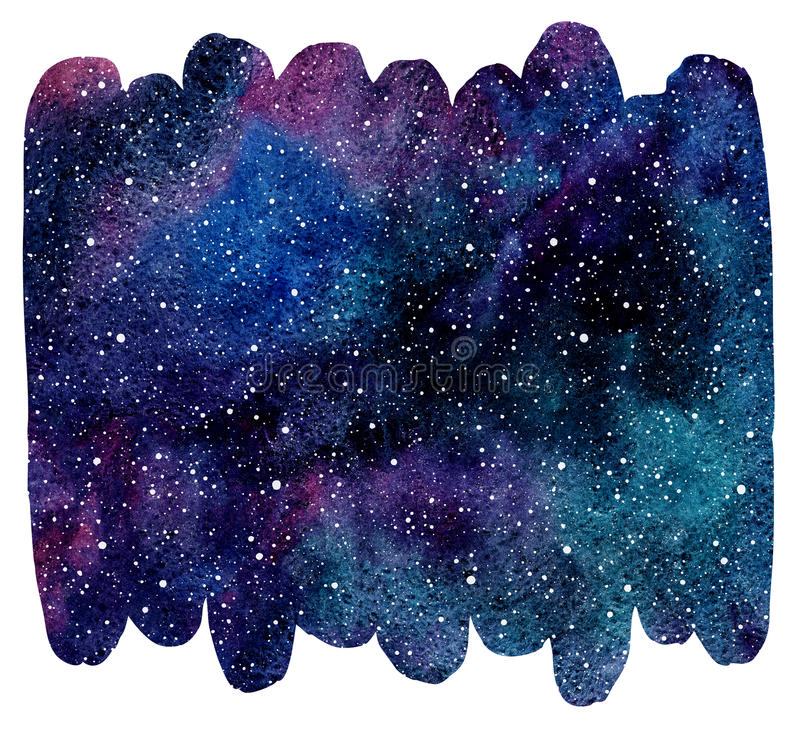 Brush drawn shape colorful watercolor cosmic background stock illustration