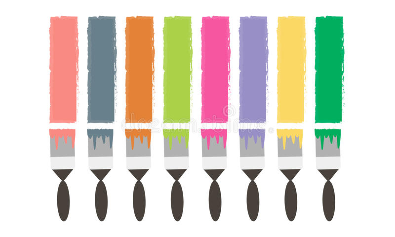 Brush draws colored lines vector illustration