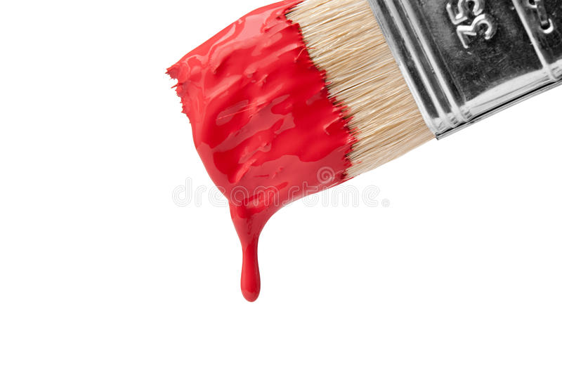 Brush with dripping paint royalty free stock photo