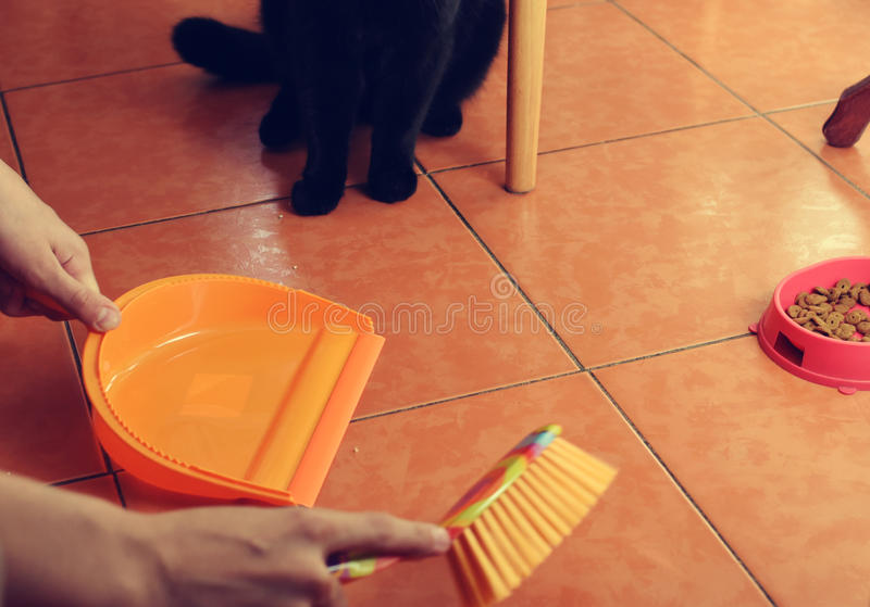 Brush and dustpan in the hands stock image