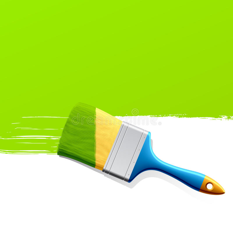 Brush with green paint stock illustration