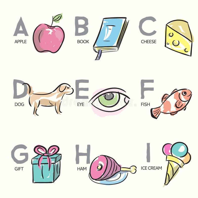 Brush_Illustrated_Alphabet_Letters_A-I royalty-vrije illustratie