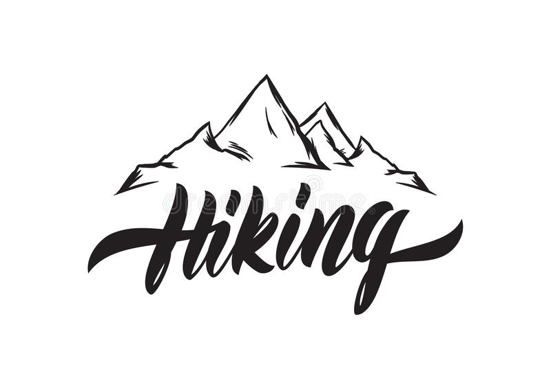 Brush lettering of hiking with hand drawn peaks of mountains sketch download brush lettering of hiking with hand drawn peaks of mountains sketch stock vector illustration altavistaventures Image collections