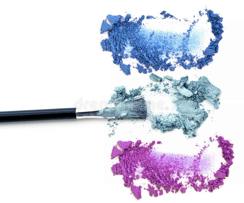 Brush make up. Color eye shadow isolate royalty free stock photo