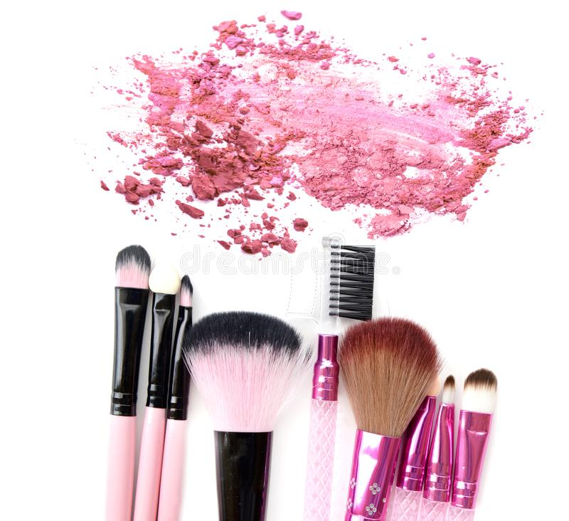 Brush make up set with crushed color powder cosmetic royalty free stock images