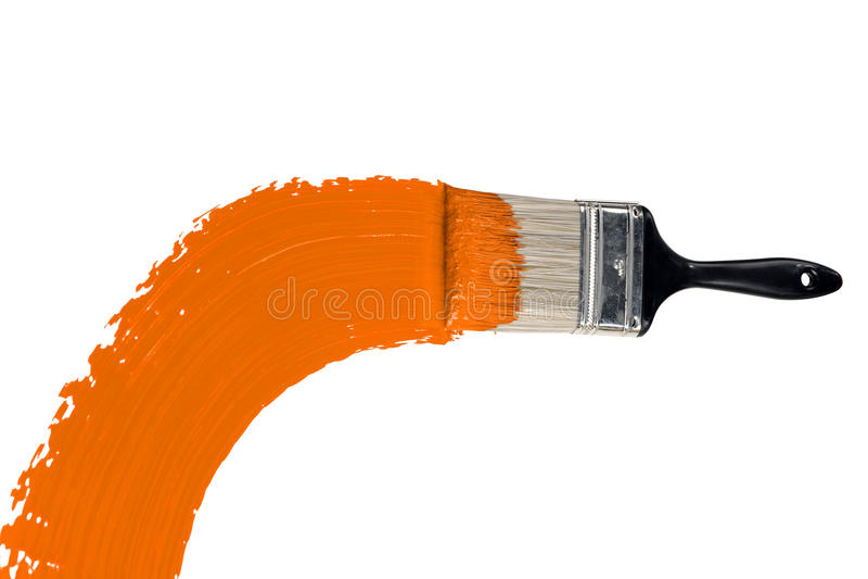 Brush With Orange Paint stock photo
