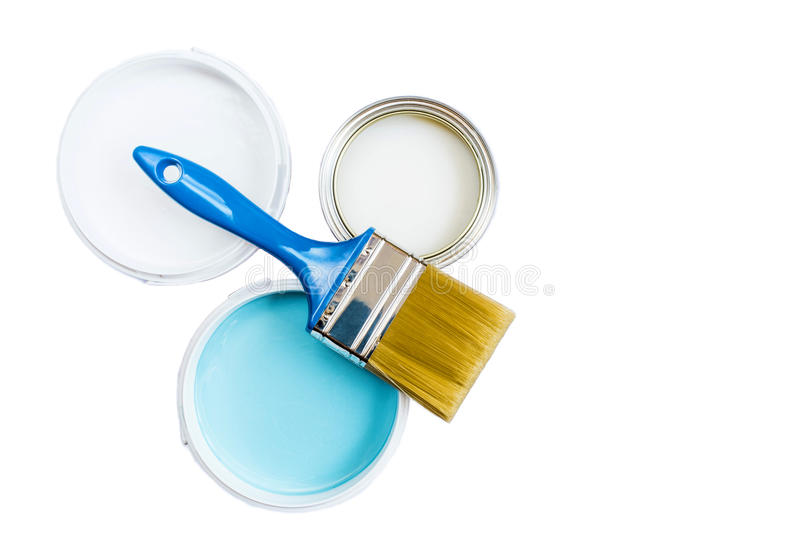 Brush and paint in banks on a white background royalty free stock photo