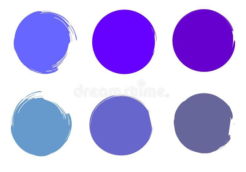 Brush paint circles. Rounded watercolor. Painted Shapes. Colorful circles. Round watercolor drops. Brush blobs. Hand drawn strokes set. Blue, lilac, aquamarine vector illustration
