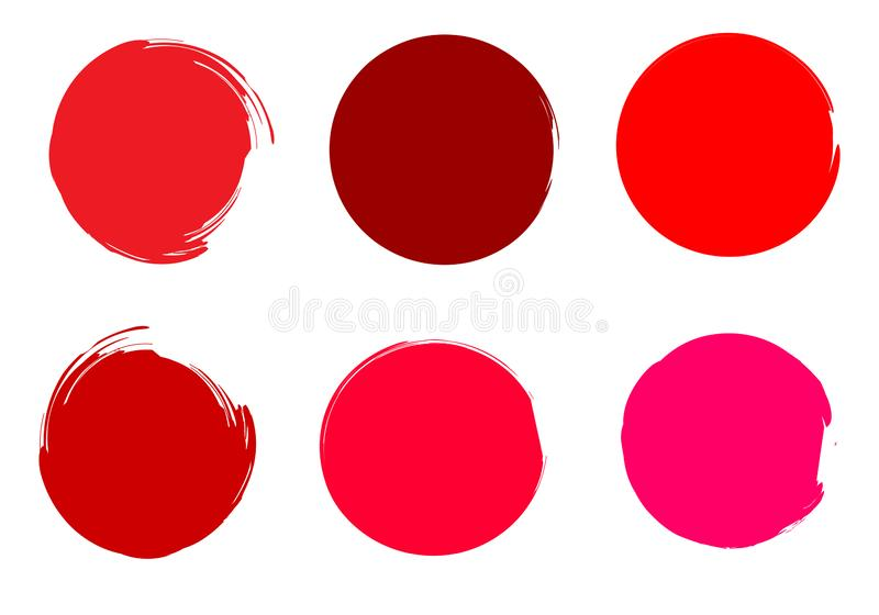 Brush paint circles. Rounded watercolor. Painted Shapes. Colorful circles. Round watercolor drops. Brush blobs. Hand drawn strokes set. Red, pink, carmine royalty free illustration