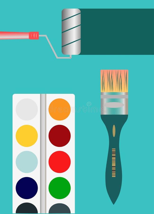 Brush paint roller tools rainbow stock photography
