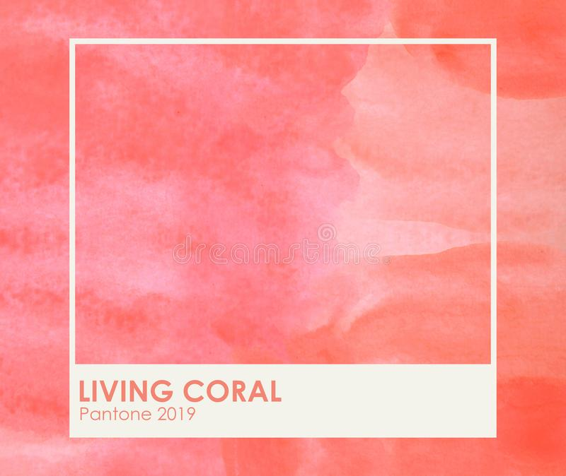 Brush and paint texture on paper living coral. Color of the year 2019. livingcoral - Image royalty free stock photography