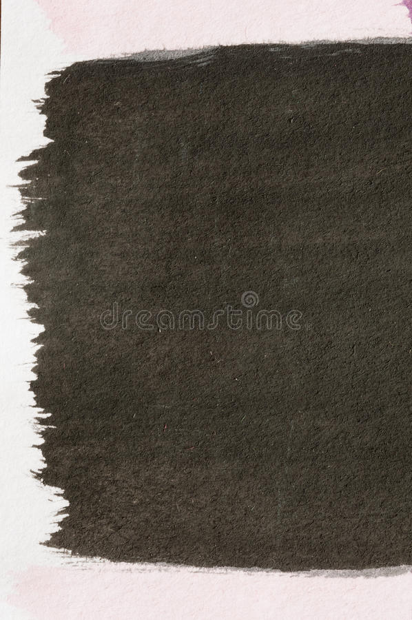 Brush painted Black. Abstract color-field painting with Watercolors , Detail royalty free stock image