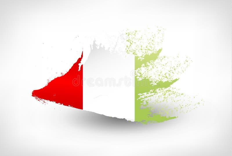 Brush painted flag of Italy stock illustration