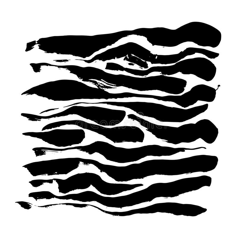 Brush painted wood seamless pattern. Black and white stripes grunge background. stock illustration