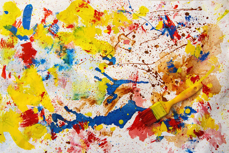 Brush and paints. Brush and mixed color paints stock image