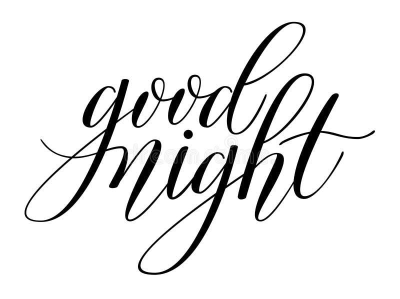 Brush Pen lettering. `Good night` isolated on background. Handwritten vector Illustration stock illustration