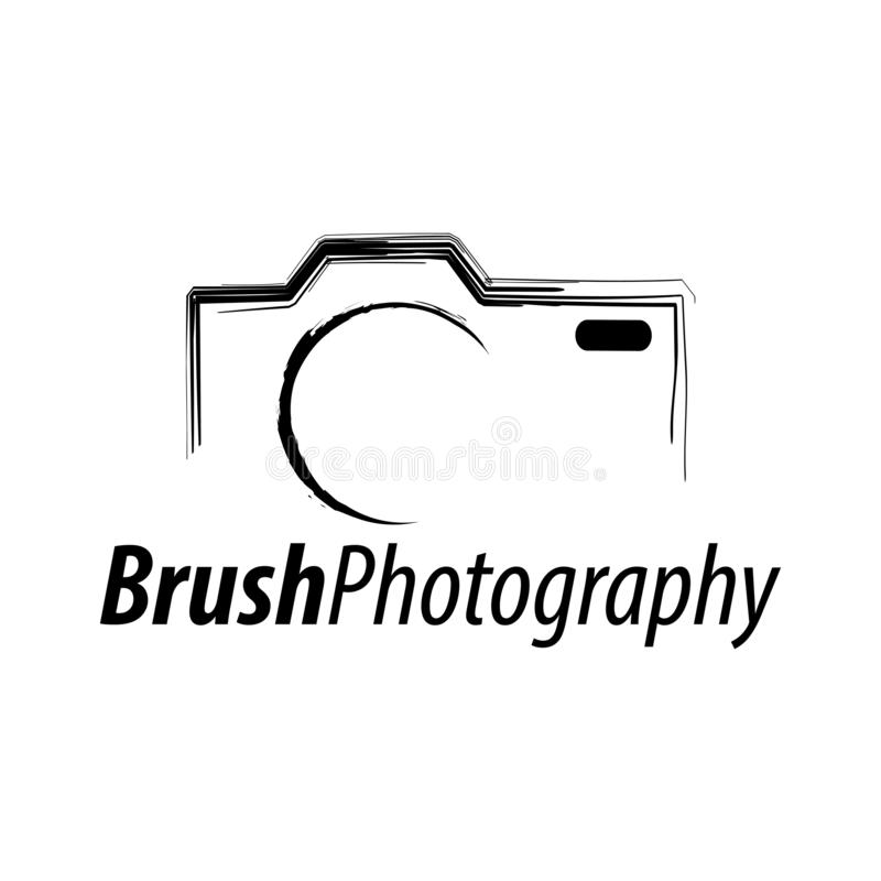 Brush Photography. Abstract illustration camera icon logo concept design template vector illustration