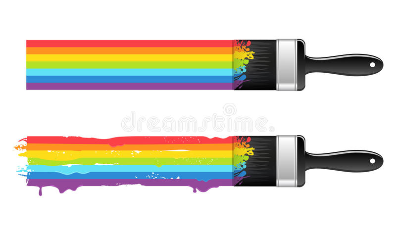 Brush with rainbow line royalty free illustration