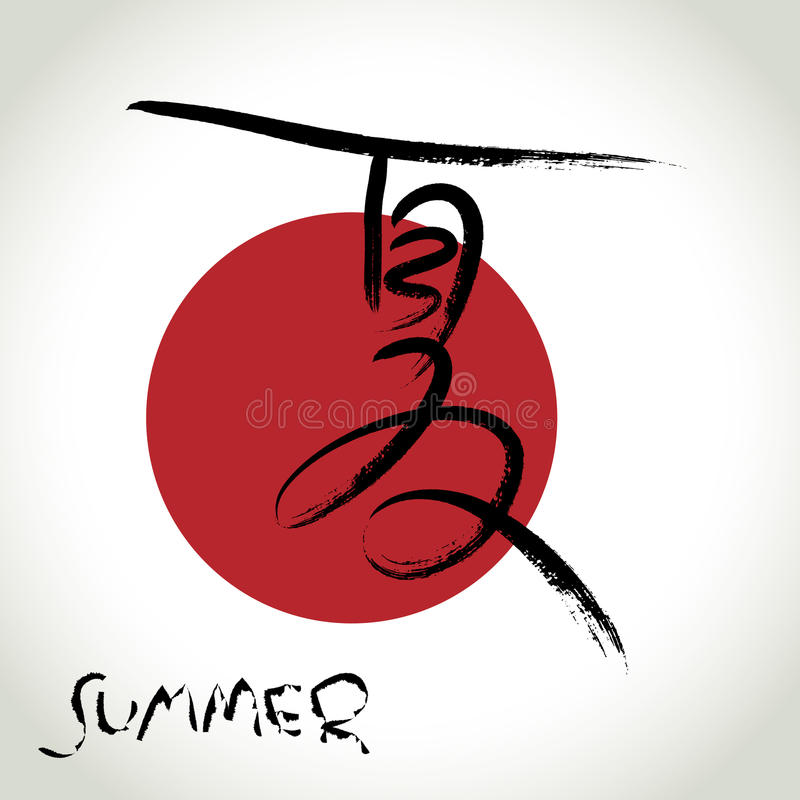 Brush stroke Chinese hieroglyphics Summer vector illustration