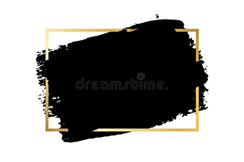 Brush stroke, gold text box, isolated white background. Black paint brush. Grunge texture stroke frame. Ink design royalty free illustration