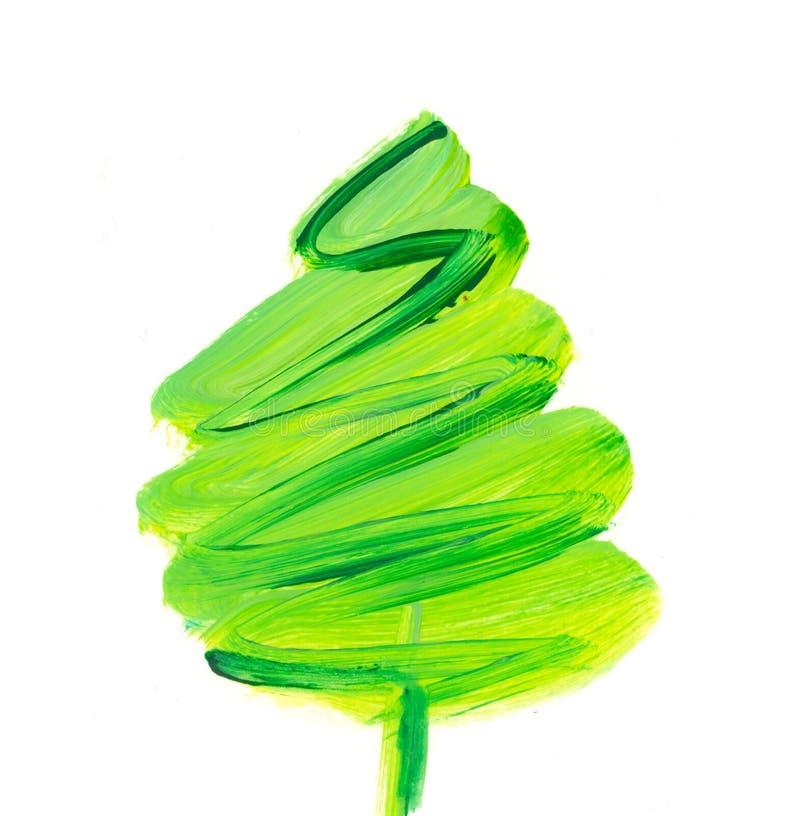 Brush stroke green Christmas tree. Oil paint hand drawn illustration of new year decorative fir tree stock illustration
