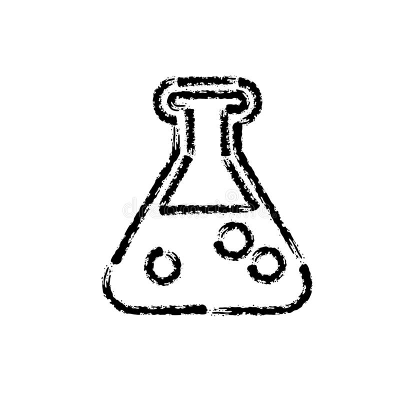 Brush stroke hand drawn vector icon of chemical lab bottle stock illustration