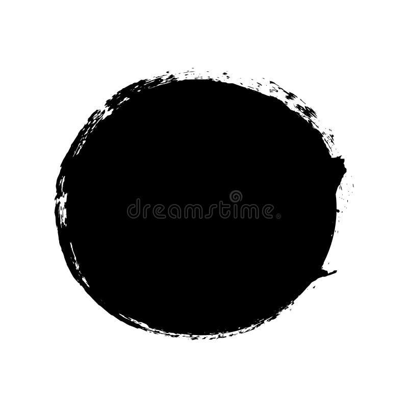 Brush stroke isolated white background. Circle black paint brush. Grunge texture round stroke. Art ink dirty design royalty free illustration